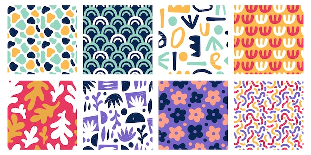Seamless abstract color shapes patterns