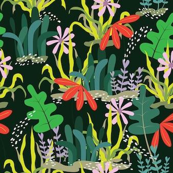 シームレスな抽象的な落書きの花