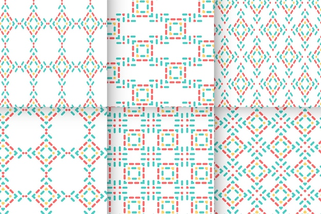 Seamless abstract dot lines pattern in line art style