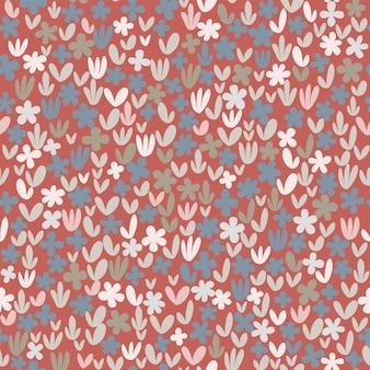 흰색 바탕에 원활한 추상 꽃 패턴 민속 예술 스타일 손으로 그린