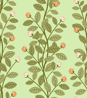 Seamless abstract floral pattern, vector roses on green background