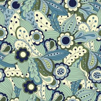 シームレスな抽象的な花柄。シームレスパターンは、壁紙、パターンの塗りつぶし、webページの背景、表面のテクスチャに使用できます。ゴージャスなシームレスな花の背景