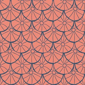 흰색 배경에 원활한 추상 기하학적 패턴 민속 예술 스타일 손 그리기