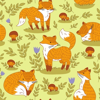 Seamless abstract hand-drawn pattern, cute foxes background.