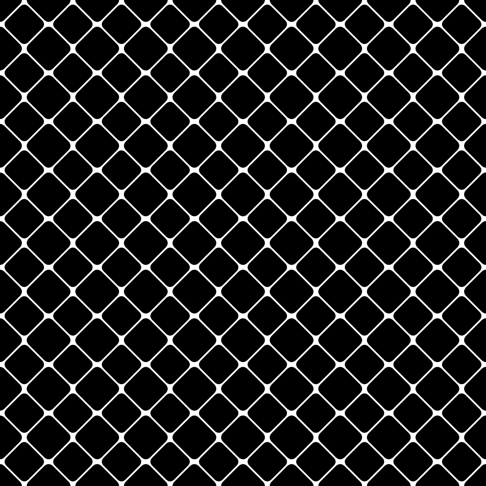 Seamless abstract monochrome square pattern - vector background design from diagonal rounded squares