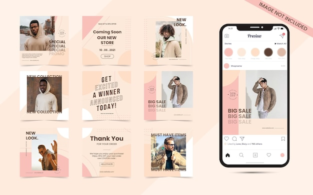 Seamless abstract organic background for social media carousel post set of instagram fashion blogger sale banner
