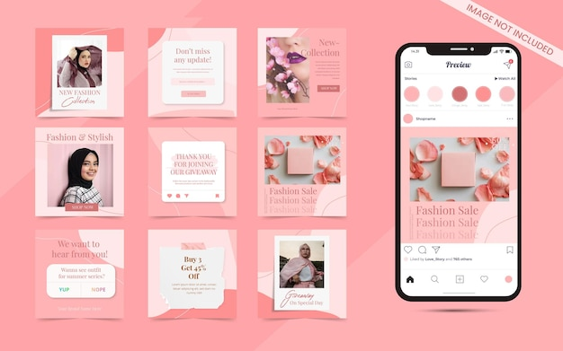 Seamless abstract organic pink background for social media carousel post set of instagram beauty skincare fashion blogger sale banner