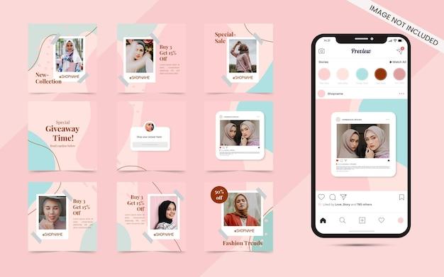 Instagramのファッション販売バナープロモーションのソーシャルメディアカルーセル投稿セットのピンクのテーマでシームレスな抽象的な有機的な形の背景