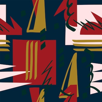 Seamless abstract pattern dark blue red colours black background geometric shapes fabric material