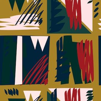 シームレスな抽象的なパターンの幾何学的形状濃い黄色の背景赤濃い青生地素材
