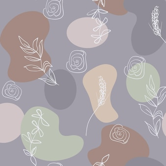 Seamless abstract pattern of minimal geometric shapes and botanical floral elements