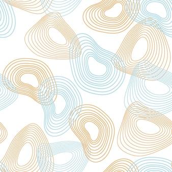 動的な線と歪んだ円のシームレスな抽象的なパターン Premiumベクター