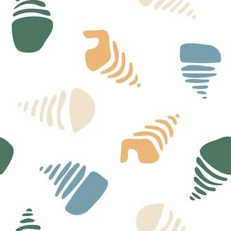 シンプルな有機的な形のシームレスな抽象的なパターン