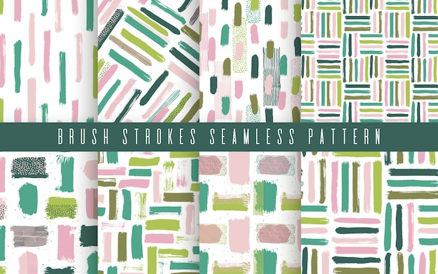 Seamless abstract pattern set with brush strokes