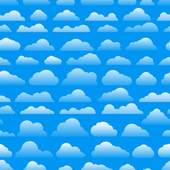 Seamless abstract pattern with clouds. cartoon clous vector background