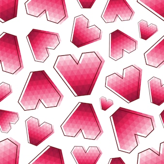 Seamless abstract pattern with geometric pink triangle polygonal hearts
