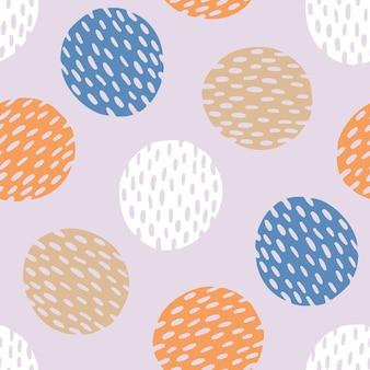 기하학적 형태와 원활한 추상 패턴입니다. 콜라주 손으로 그린 스타일. 유행 파스텔 색상. 삽화.
