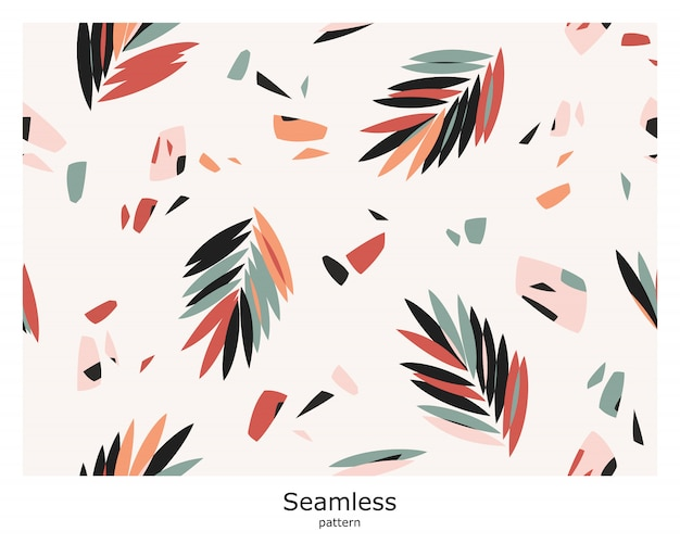 Seamless abstract pattern with palm leaves on a light background