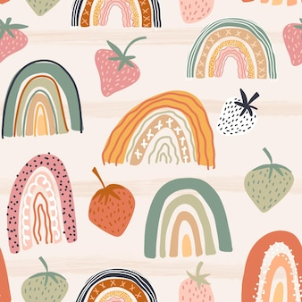 Seamless abstract pattern with rainbows strawberries and horizontal stripes