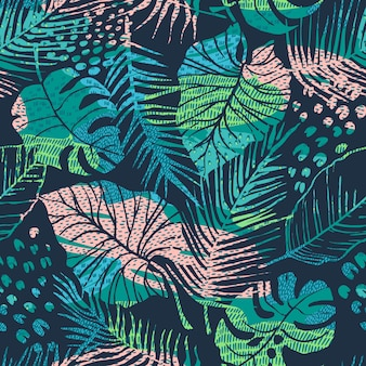 Seamless abstract pattern with tropical plants