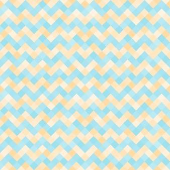 Бесшовный абстрактный узор с бирюзовым и желтым геометрическим зигзагом мозаики
