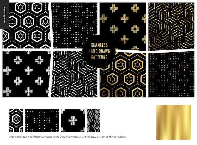 Seamless abstract patterns. geometrical drawings, lines and dots