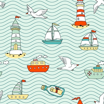 Бесшовный абстрактный морской образец с судами, маяками, чайками и сообщением в бутылке