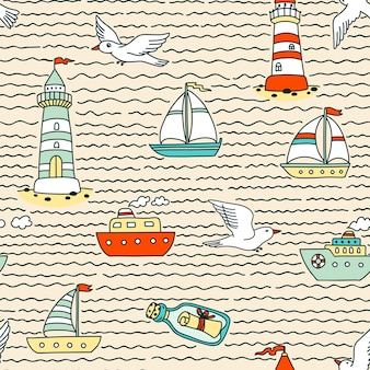 Seamless abstract sea pattern with vessels, lighthouses, seagulls and message in a bottle
