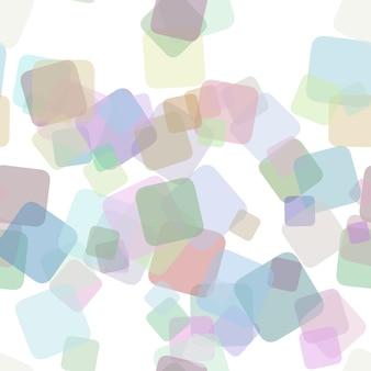 シームレスな抽象的な正方形の背景パターン - 不透明効果とランダムに回転した正方形からのベクトル図