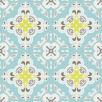 シームレスな抽象的なタイルパターンベクトル。幾何学的な古典的なダマスク織の飾り