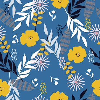 Seamless abstract tropical spring floral pattern background