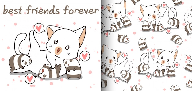 Seamless adorable cat and small pandas pattern
