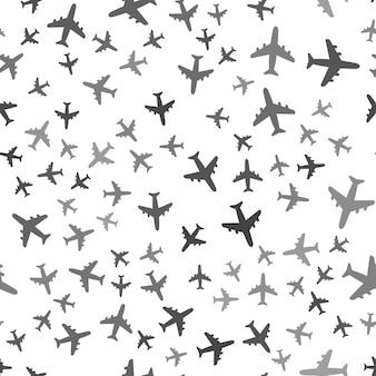 Seamless airplane pattern on a white background. simple airplane icon creative design. can be used for wallpaper, web page background, textile, print ui/ux