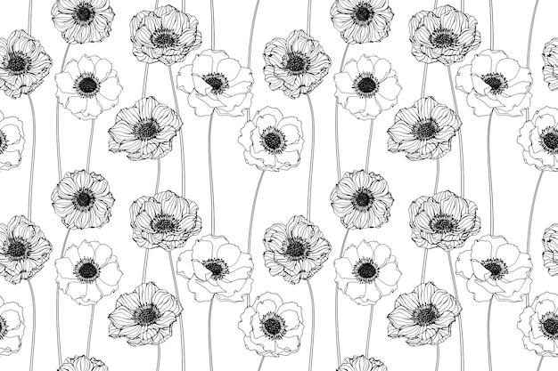 Seamless anemone flower pattern background.