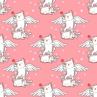 シームレスな天使の猫は愛のパターンを与えています