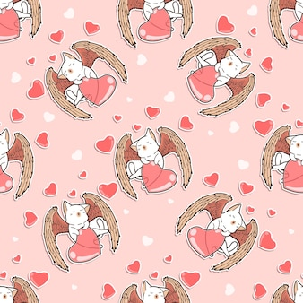 Seamless angel cat with heart pattern