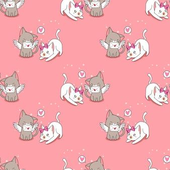 ラブレターパターンのシームレスな天使の猫