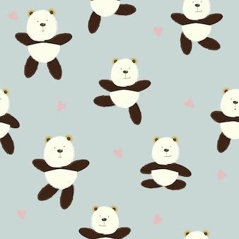 Seamless animal cartoon pattern with cute bear