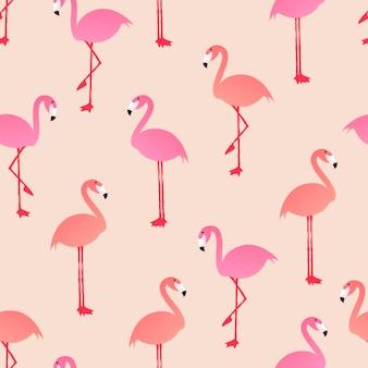 원활한 동물 패턴 배경, 귀여운 플라밍고 벡터 여름 그림