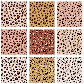 Seamless animal pattern set with leopard dots. creative wild textures for fabric, wrapping. vector illustration