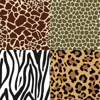 Seamless animal print pattern set