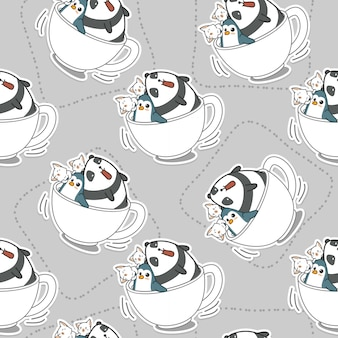 Seamless animals in coffee cup pattern.
