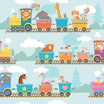 Seamless animals on train pattern.