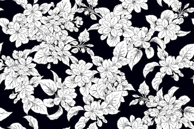 봄 드레스 직물에 대한 원활한 사과 개화 배경