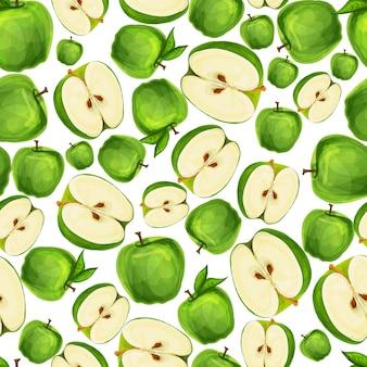 シームレスなリンゴの果実は種子を半分にスライスし、パターン手描きスケッチベクトルイラストの葉