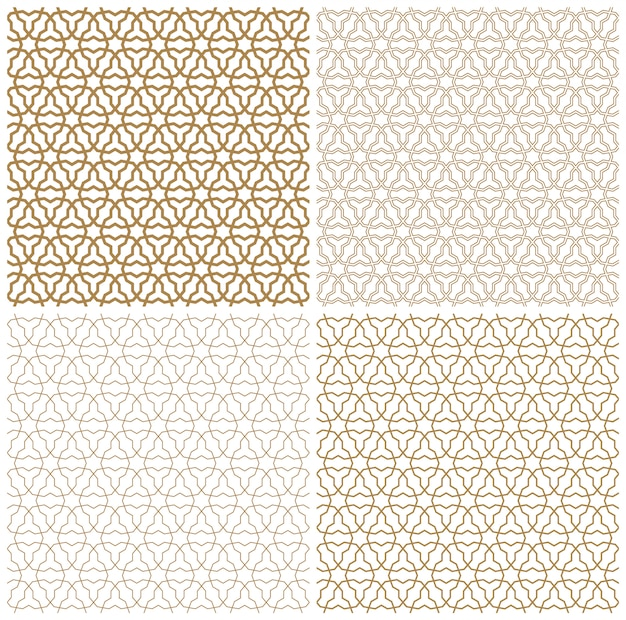 Seamless arabic geometric ornament in brown color.a set of different line thicknesses.