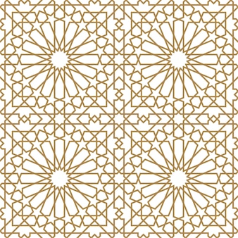 Seamless arabic geometric ornament in brown color.thick lines.