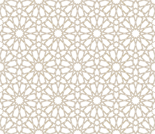 Seamless arabic geometric ornament in brown color