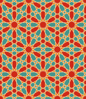 Seamless arabic geometric ornament in color.each shape type is editable.