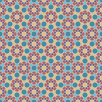 Бесшовные арабский геометрический орнамент в цветах. цветные фигуры.